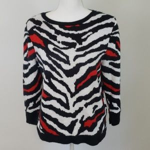 Ruby Rd. : Bold Red Zebra Sweater Small